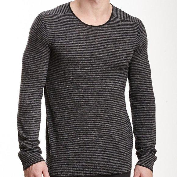 Vince Striped Wool Blend Tee Linen Grey Black Lrg